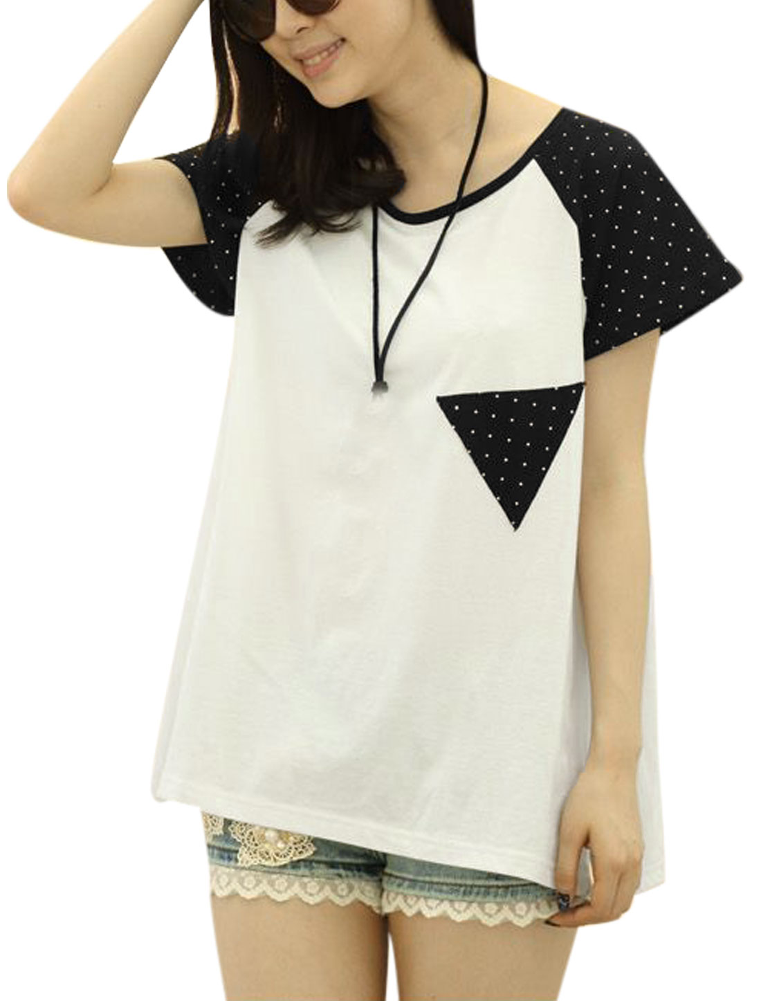Lady Casual Dots Prints Colorblock Irregular Cutting Tunic Tee White M