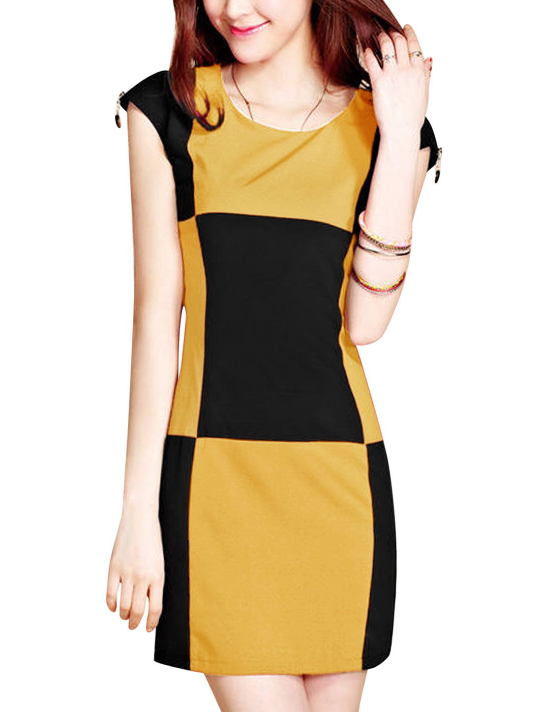 Lady Cap Sleeve Zipped Shoulder Check Colorblock Sheath Dress Black Yellow M