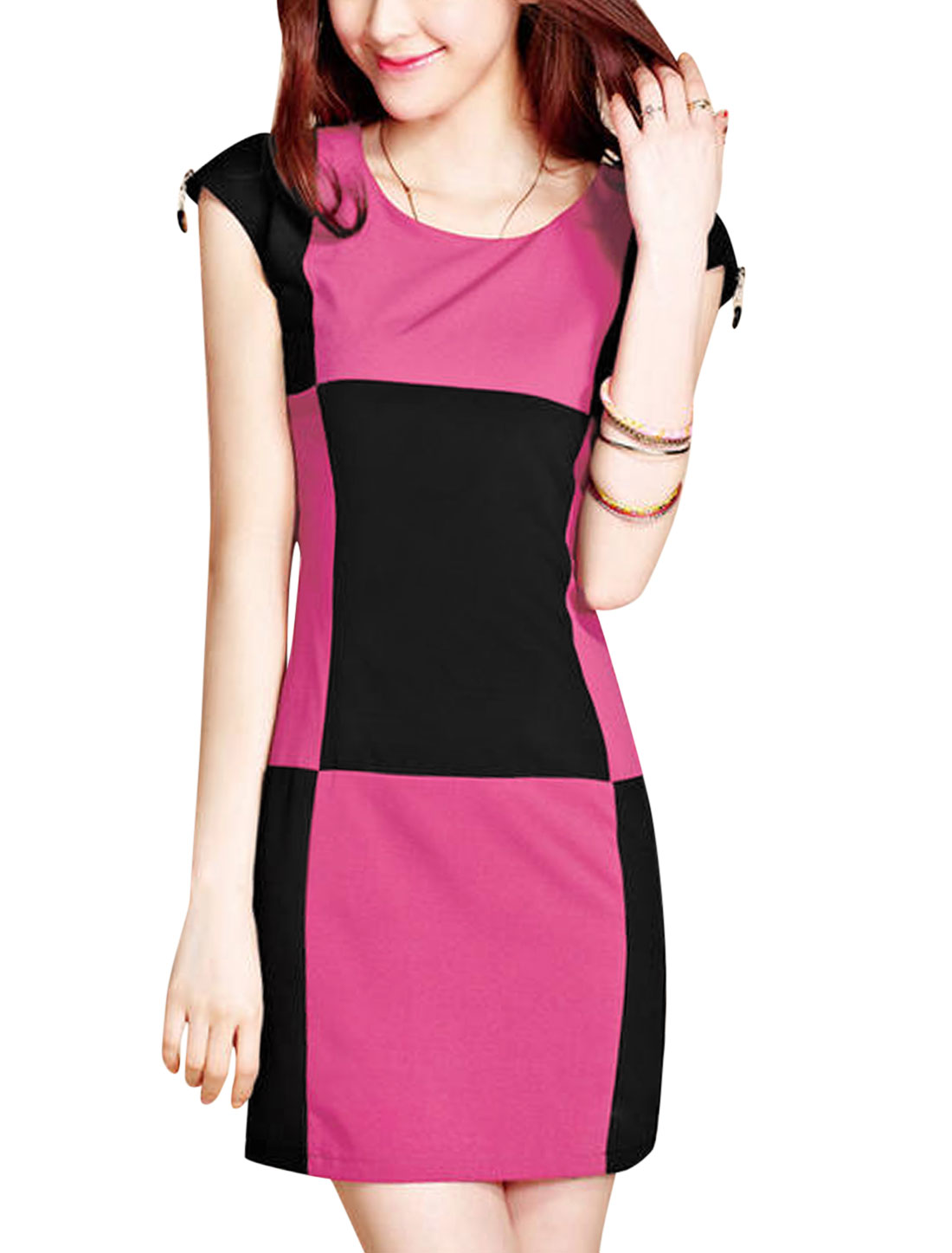 Lady Elegant Cap Sleeve Check Colorblock Sheath Dress Black Fuchsia M