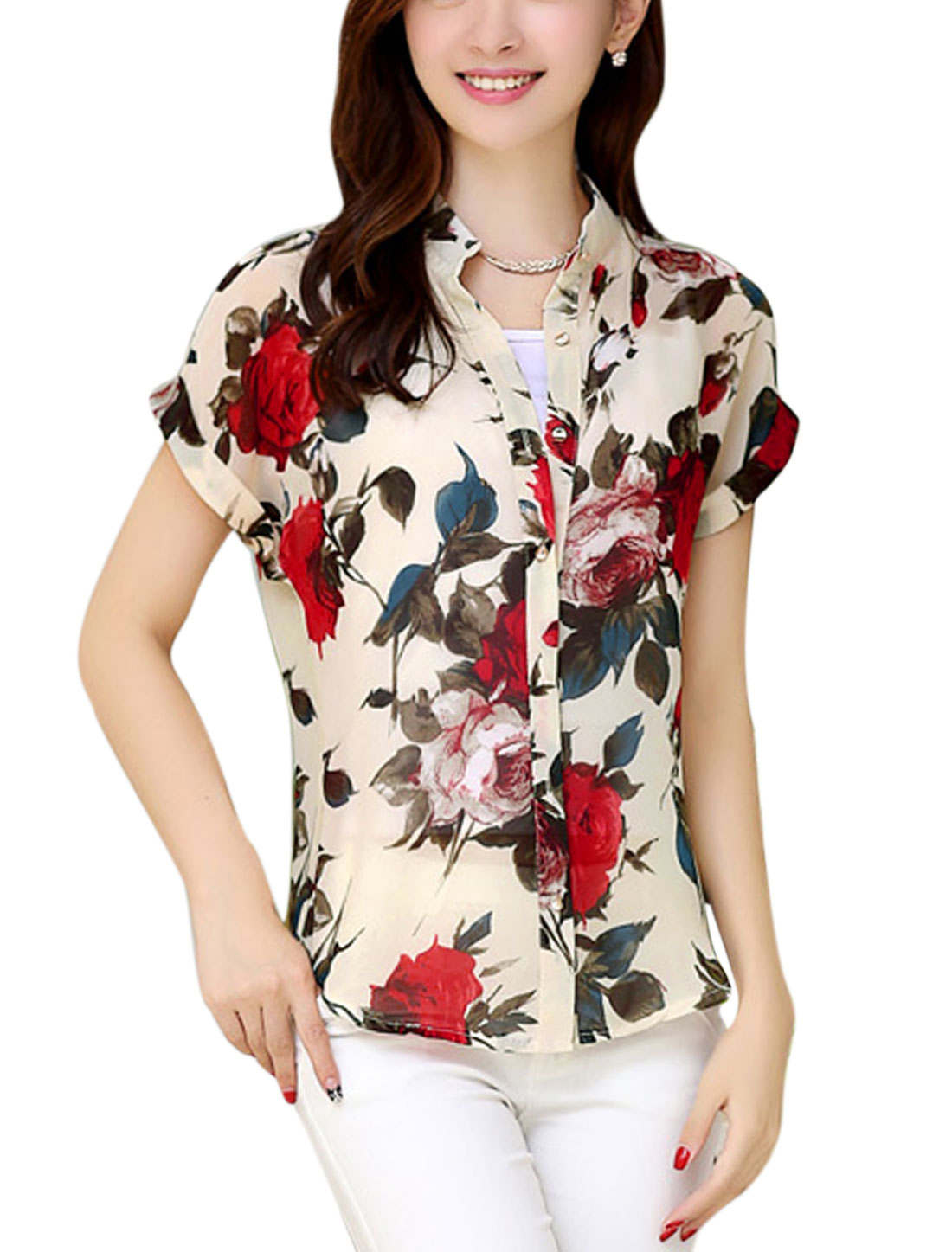 Lady Floral Prints Beige Red Shirt w Spaghetti Straps Cami Top Beige Red S