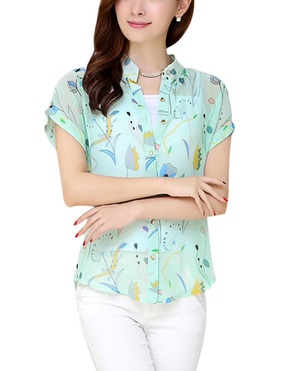 Lady Button Down Floral Prints Mint Shirt w Simple White Cami Top S