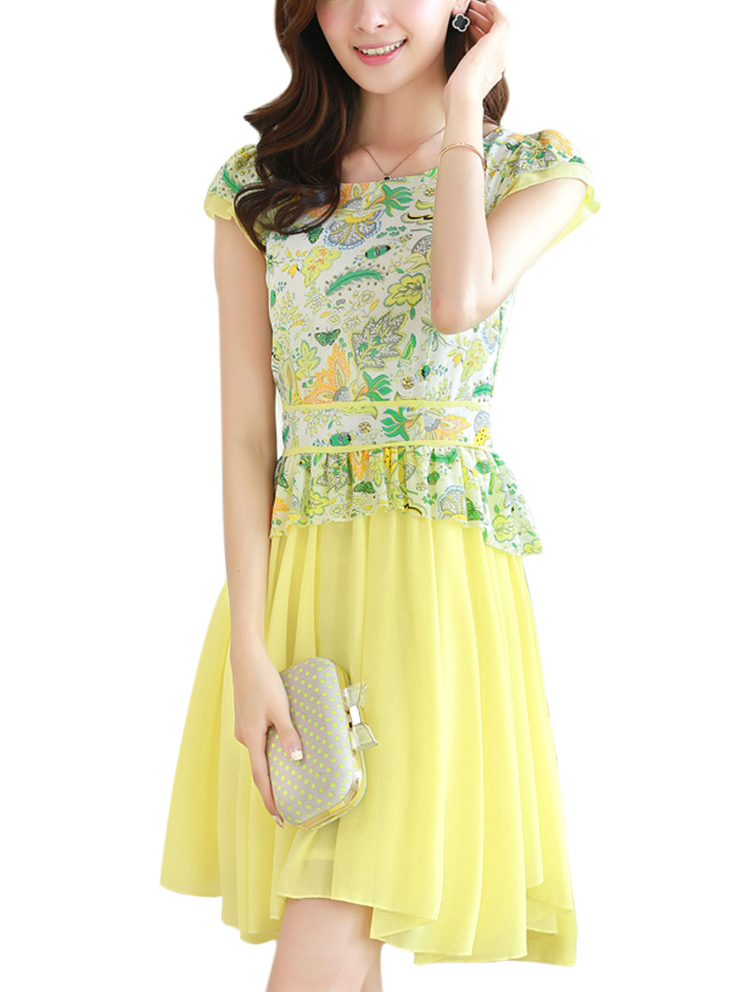 Lady Tiered Cap Sleeve Floral Prints Irregular Hem Chiffon Dress Yellow S