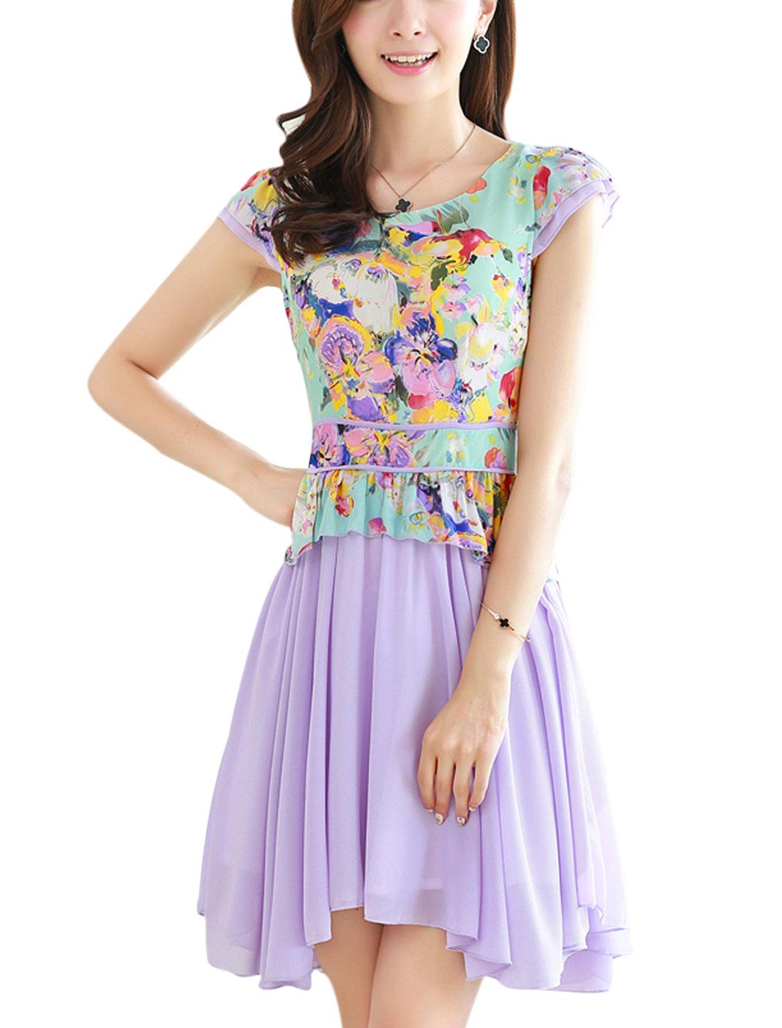 Lady Layered Cap Sleeve Floral Prints Chiffon Dress Light Purple S