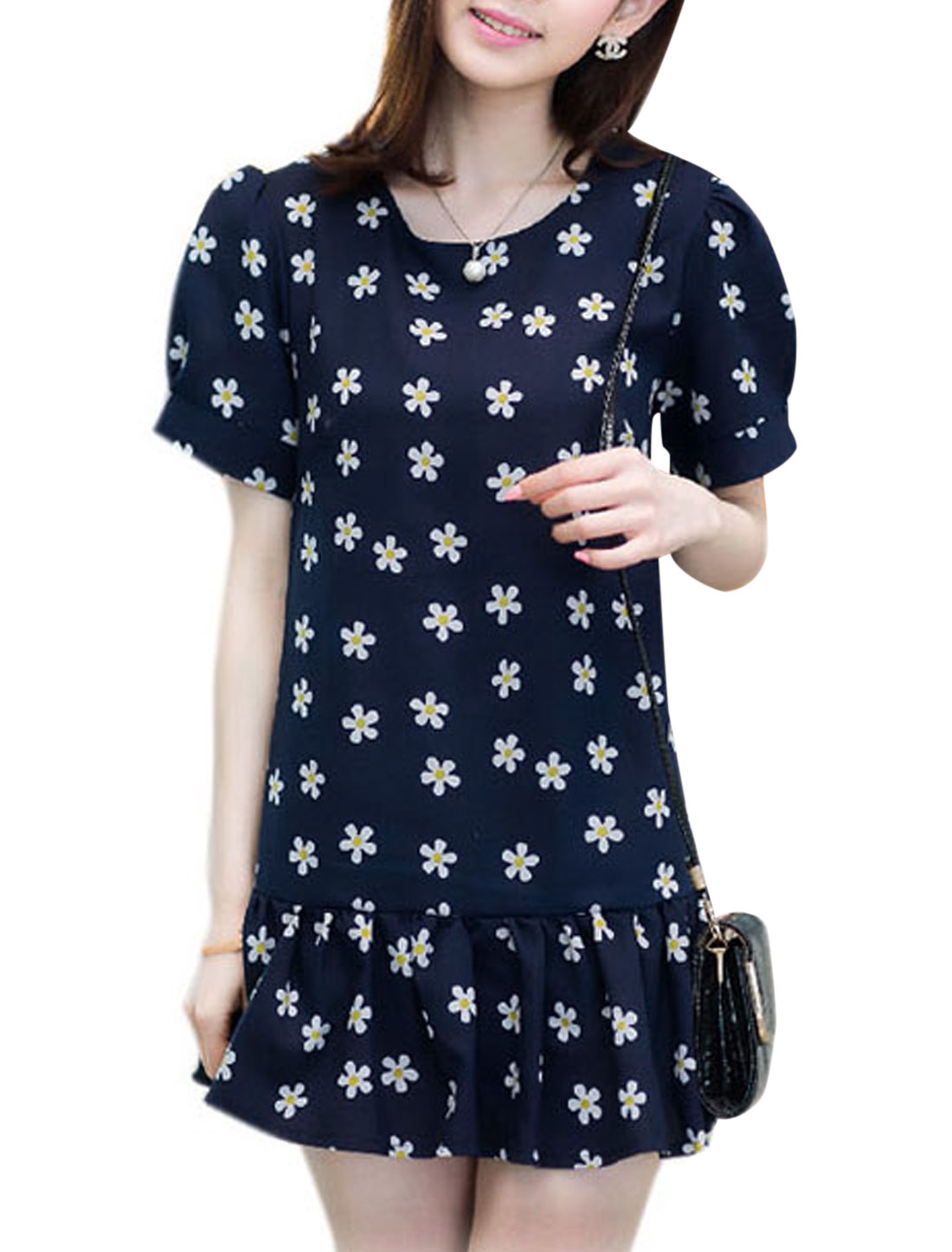 Lady Short Sleeve Floral Prints Unlined Above Knee Dress Navy Blue S