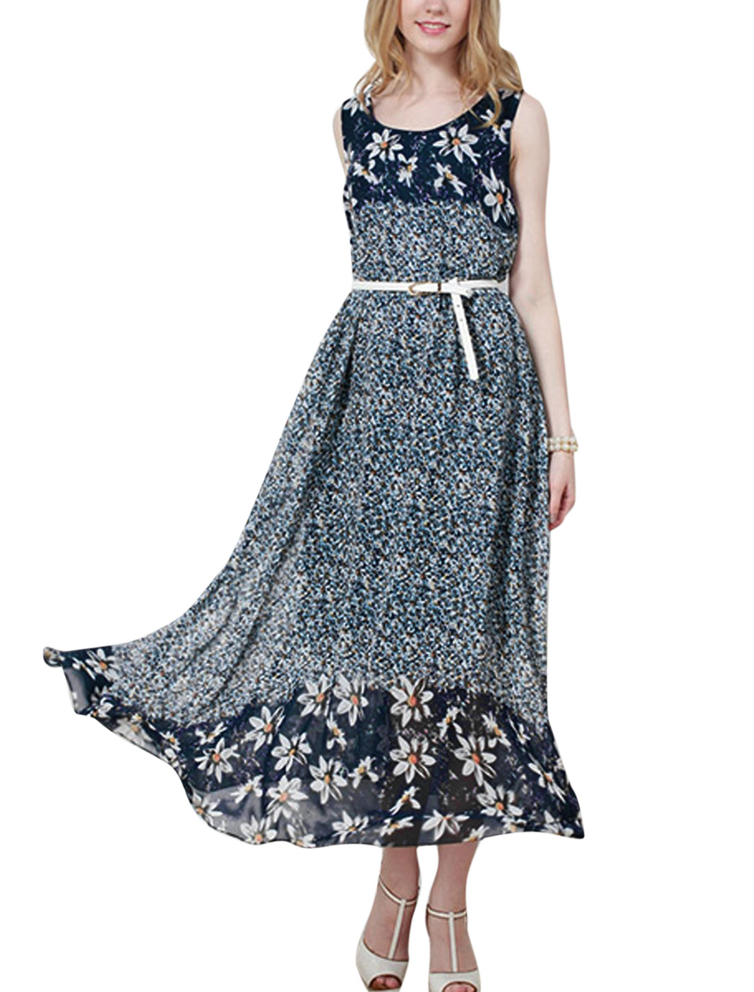 Lady Stretchy Waist Floral Prints Fully Lined Dress w Belt Navy Blue S