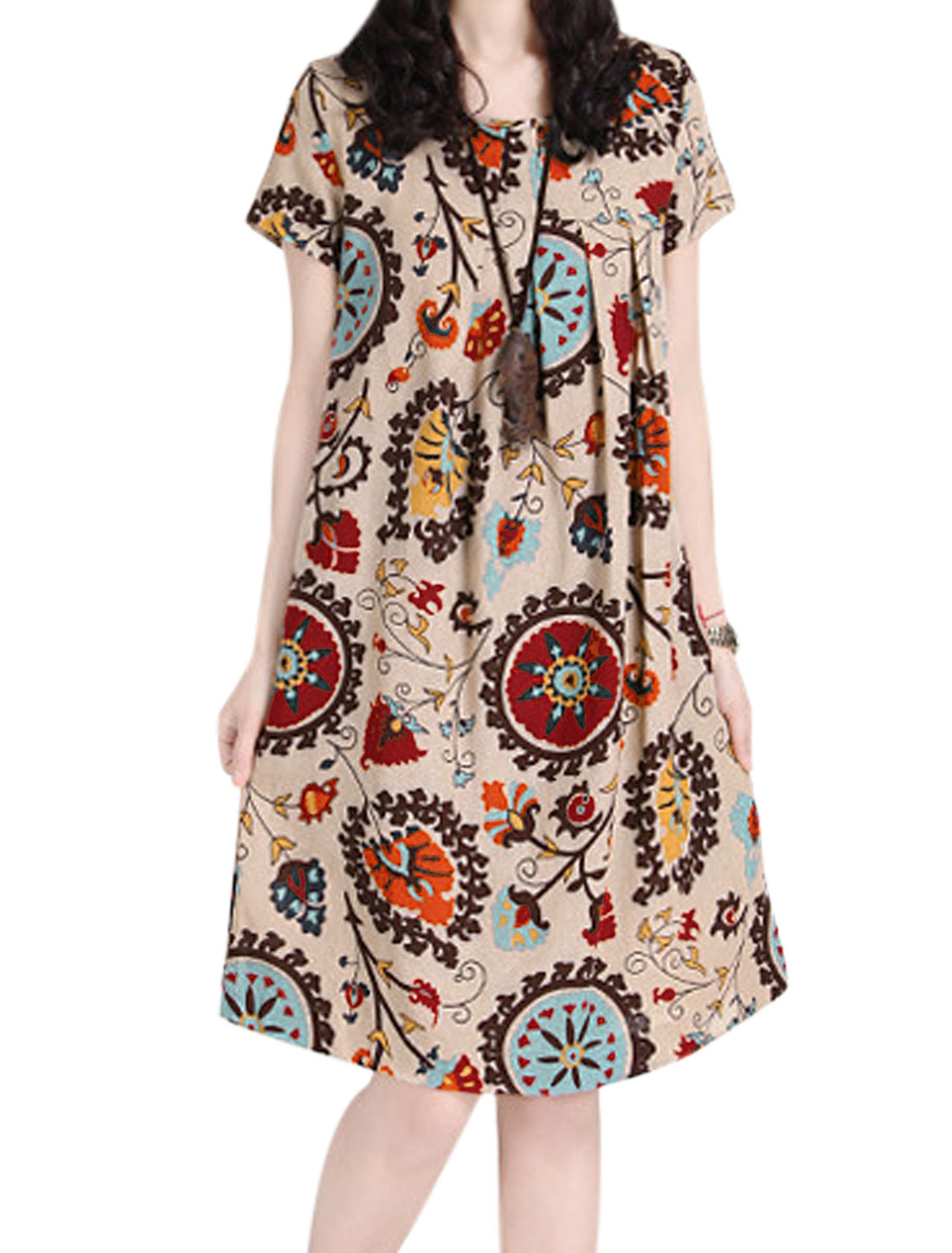 Lady Short Sleeve All-over Floral Loose Casual Straight Dress Multicolor M