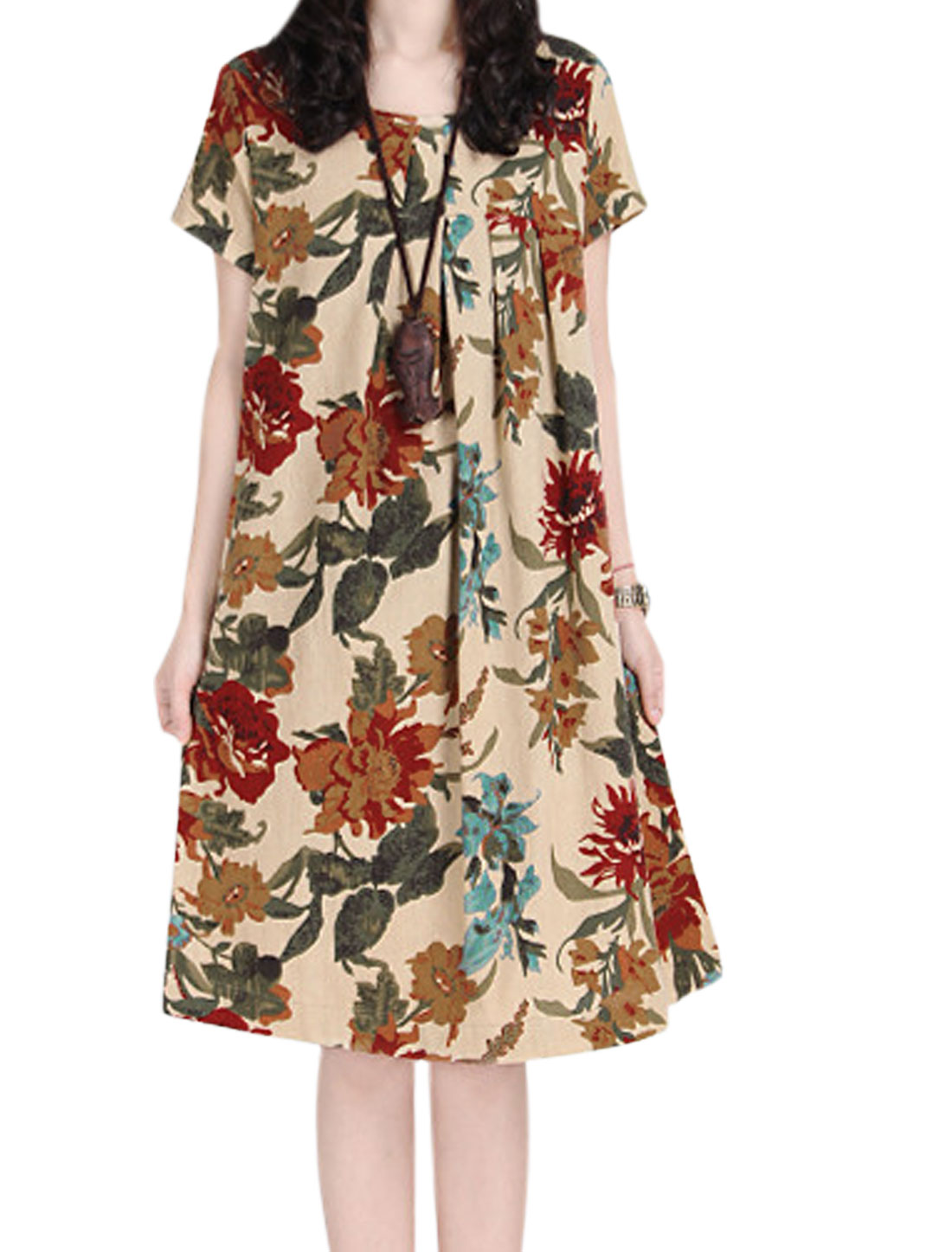 Lady Short Sleeve Floral Prints Loose Casual Straight Dress Beige Red M