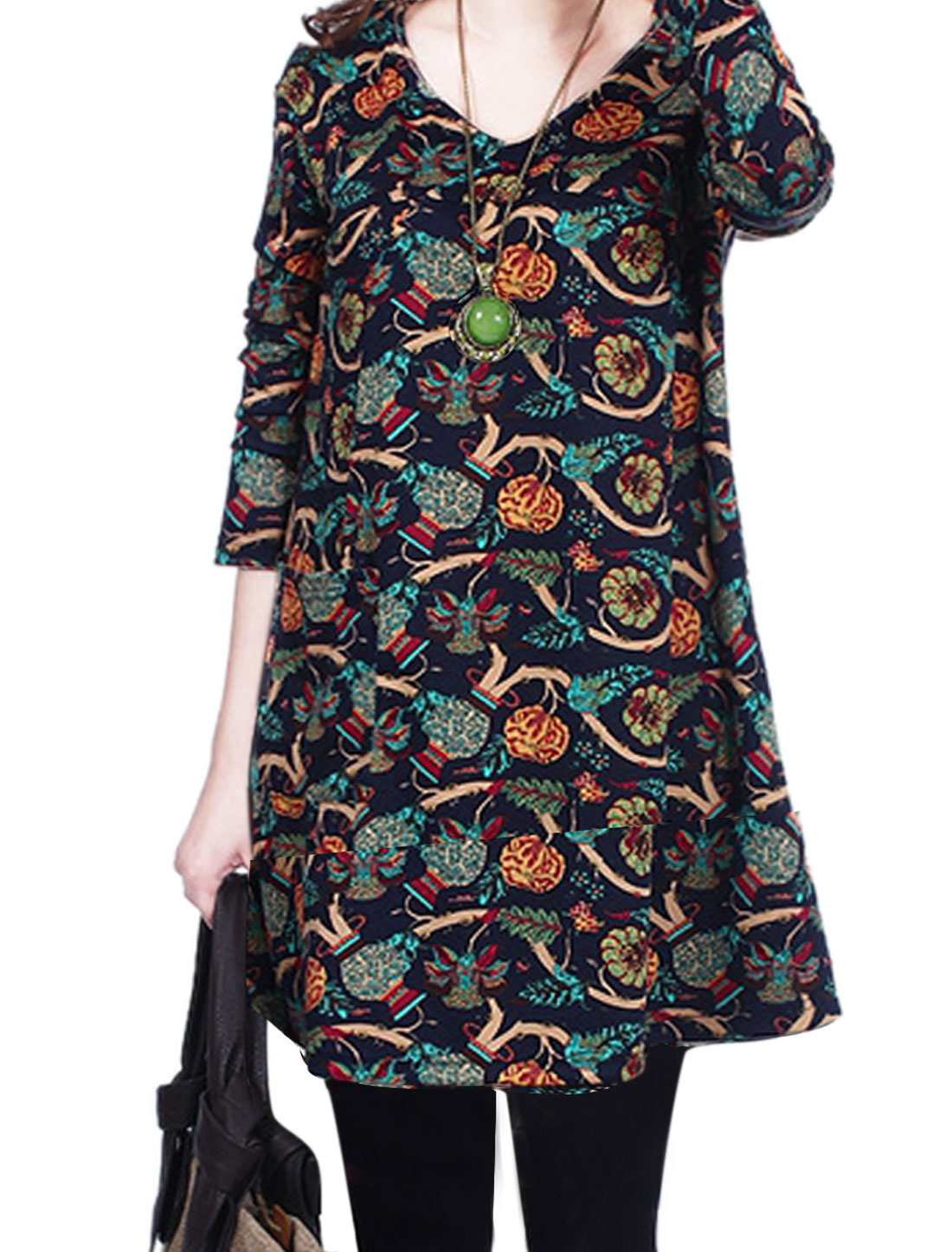 Lady V Neck Long Sleeve Floral Prints Vase Prints Shift Dress Navy Blue M