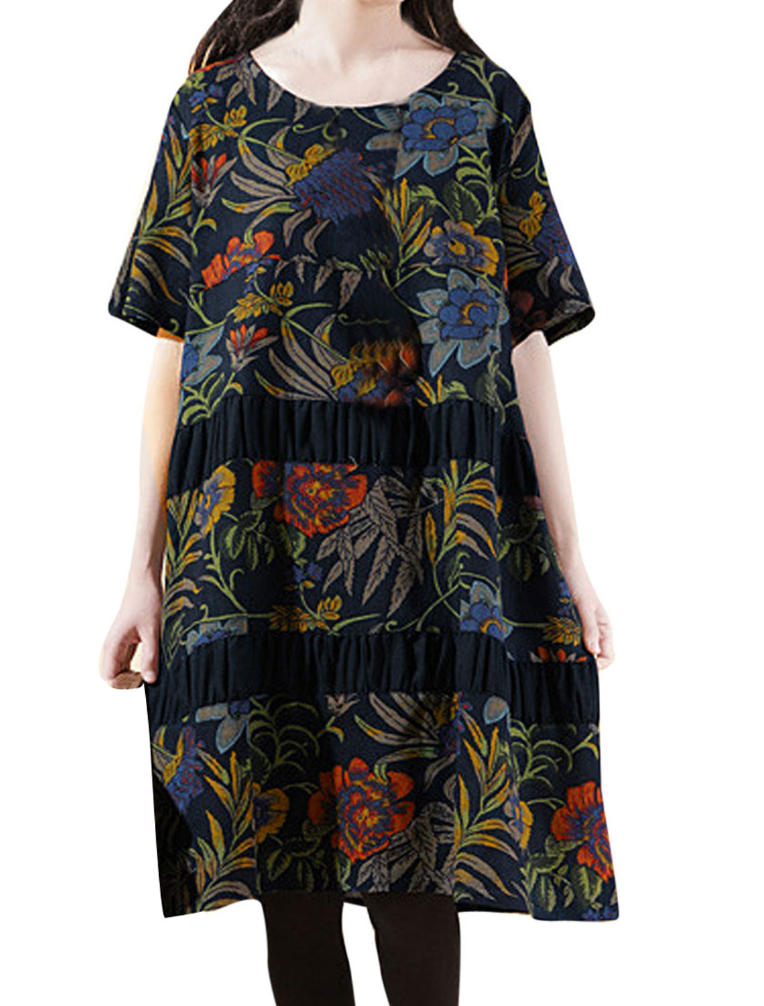 Lady Short Sleeve Floral Prints Double Side Pockets Peasant Dress Navy Blue M