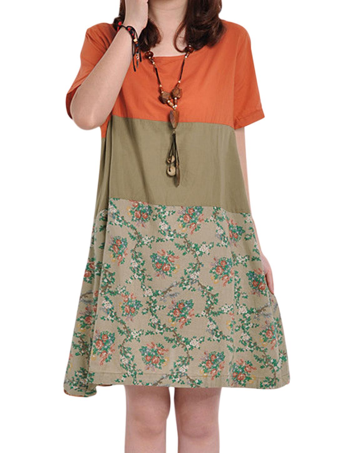 Lady Colorblock Floral Prints Button Closure Back Tea Dress Orange Taupe M