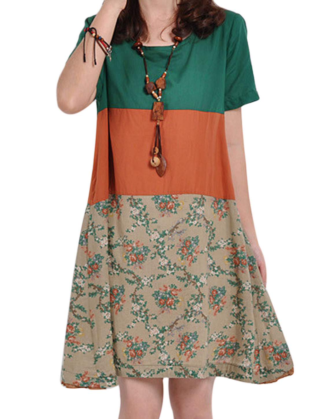 Lady Flower Pattern Button Closure Back Tea Dress Orange Dusty Green M