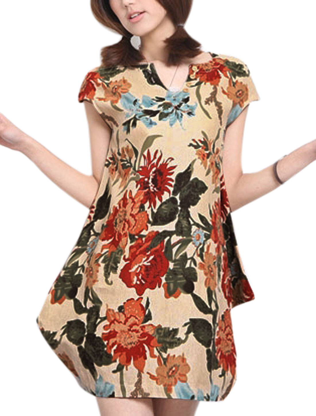 Lady Split Neck Sleeveless All-over Floral Buttons Decor Dress Beige M