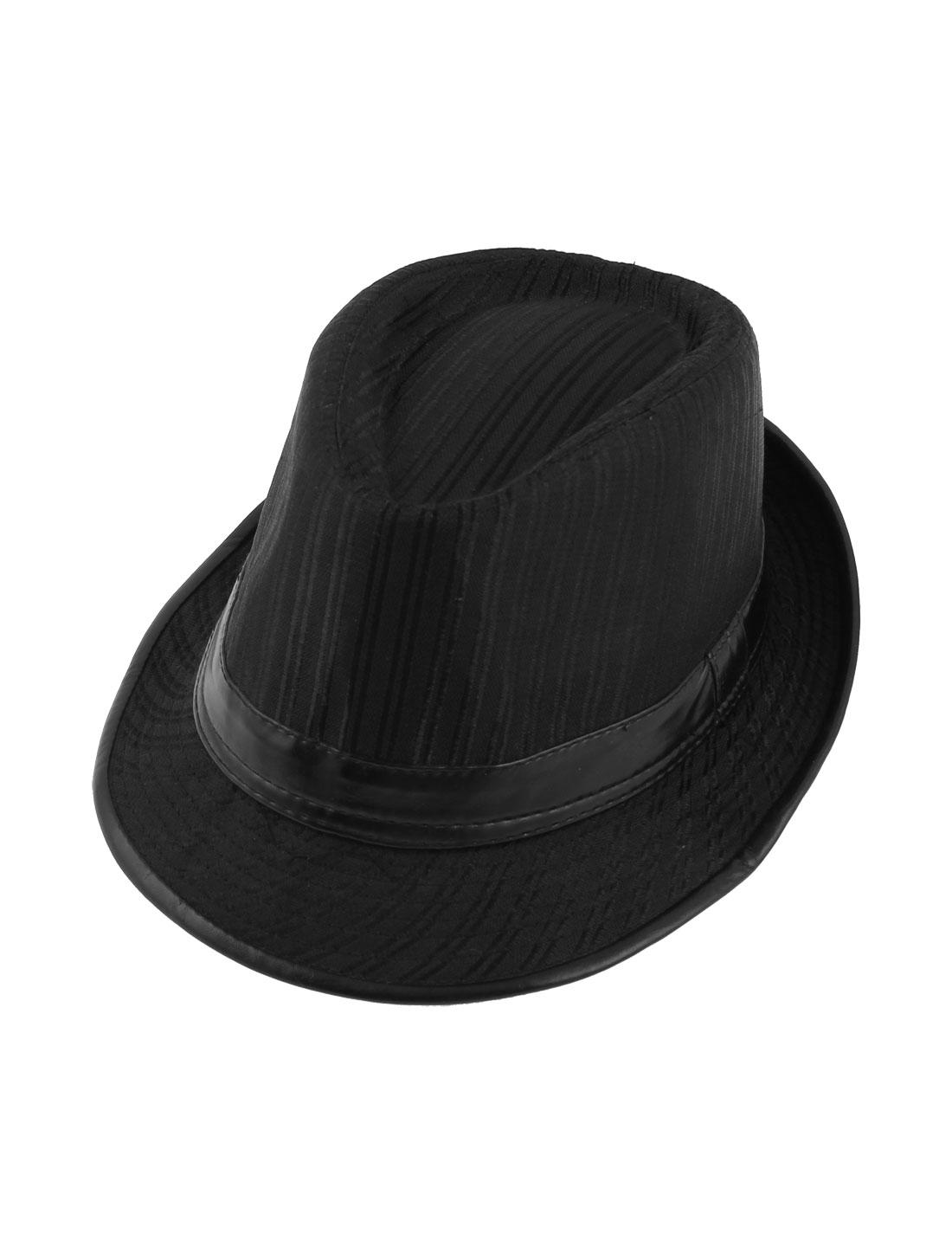 Man Polyester Lined Floppy Brim Bowler Homburg Fedora Hat Black