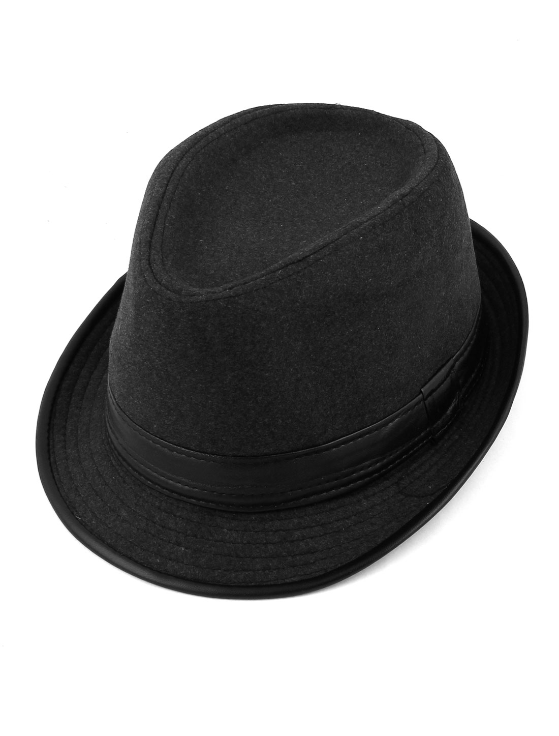 Travel Outdoor Faux Leather Brim Fedora Hat Cap Gray for Men
