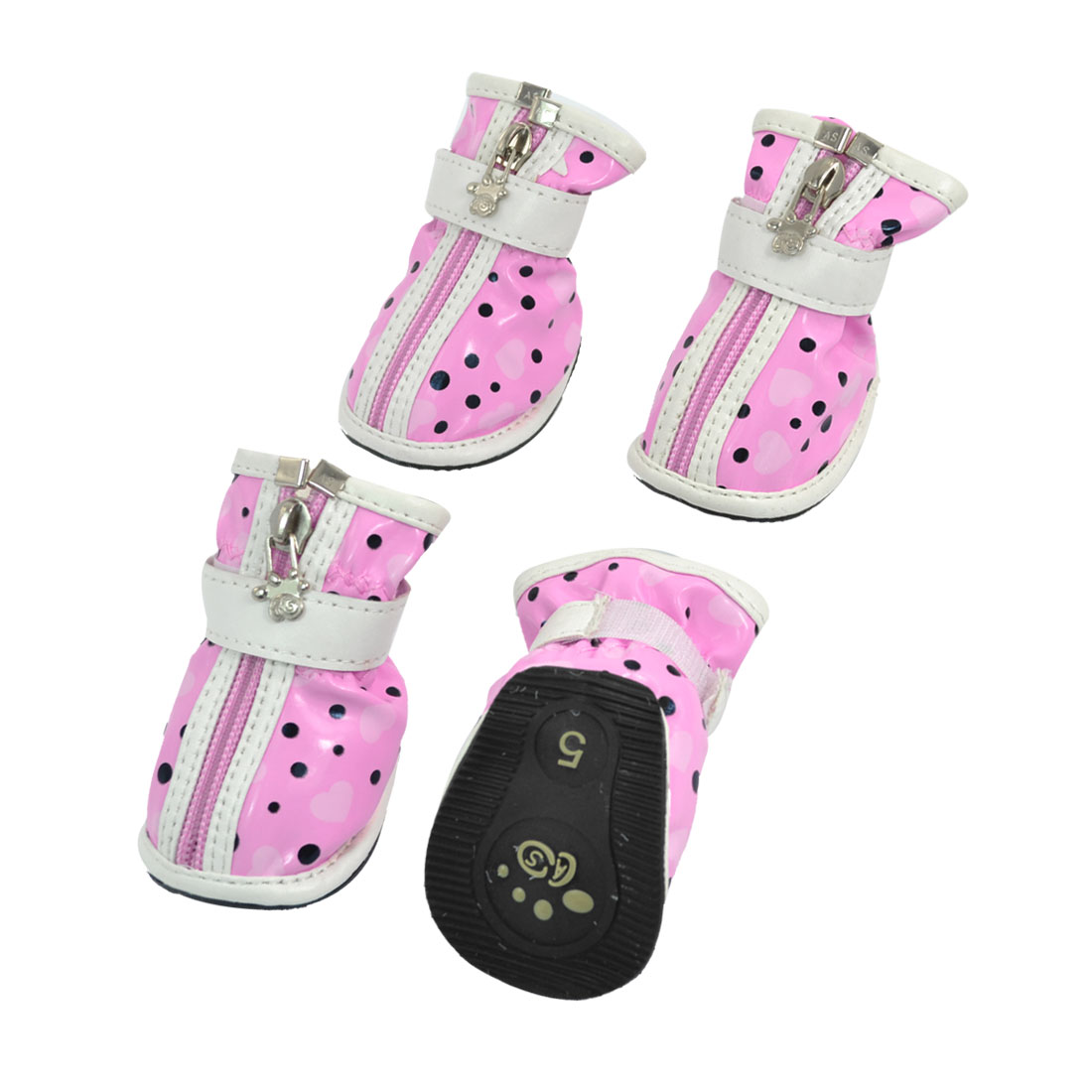 2 Pair Hook Loop Closure Zip Up Pet Poodle Doggy Shoes Boots Booties Pink White Size 5