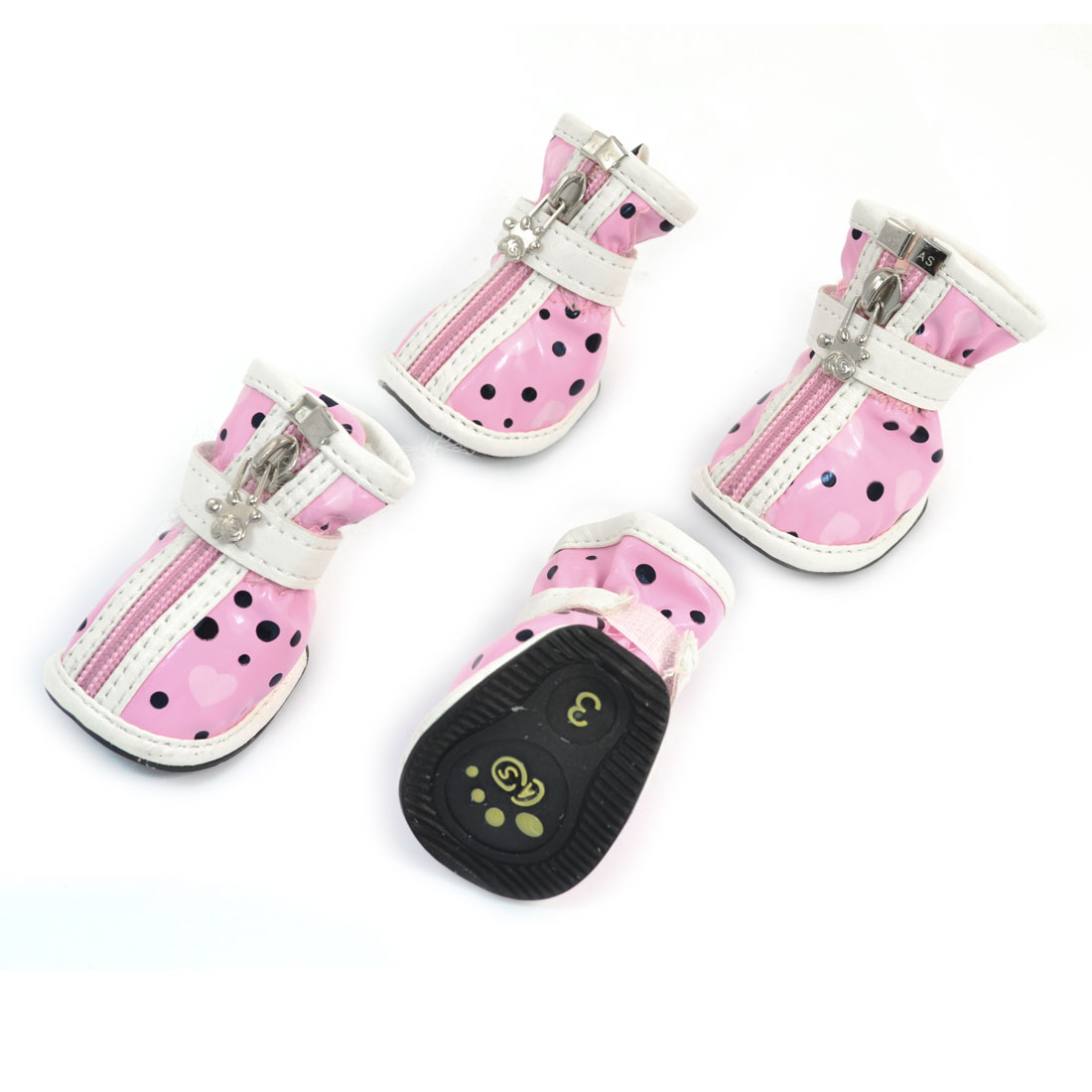 2 Pair Hook Loop Closure Zip Up Pet Poodle Doggy Shoes Boots Booties Pink White Size XS