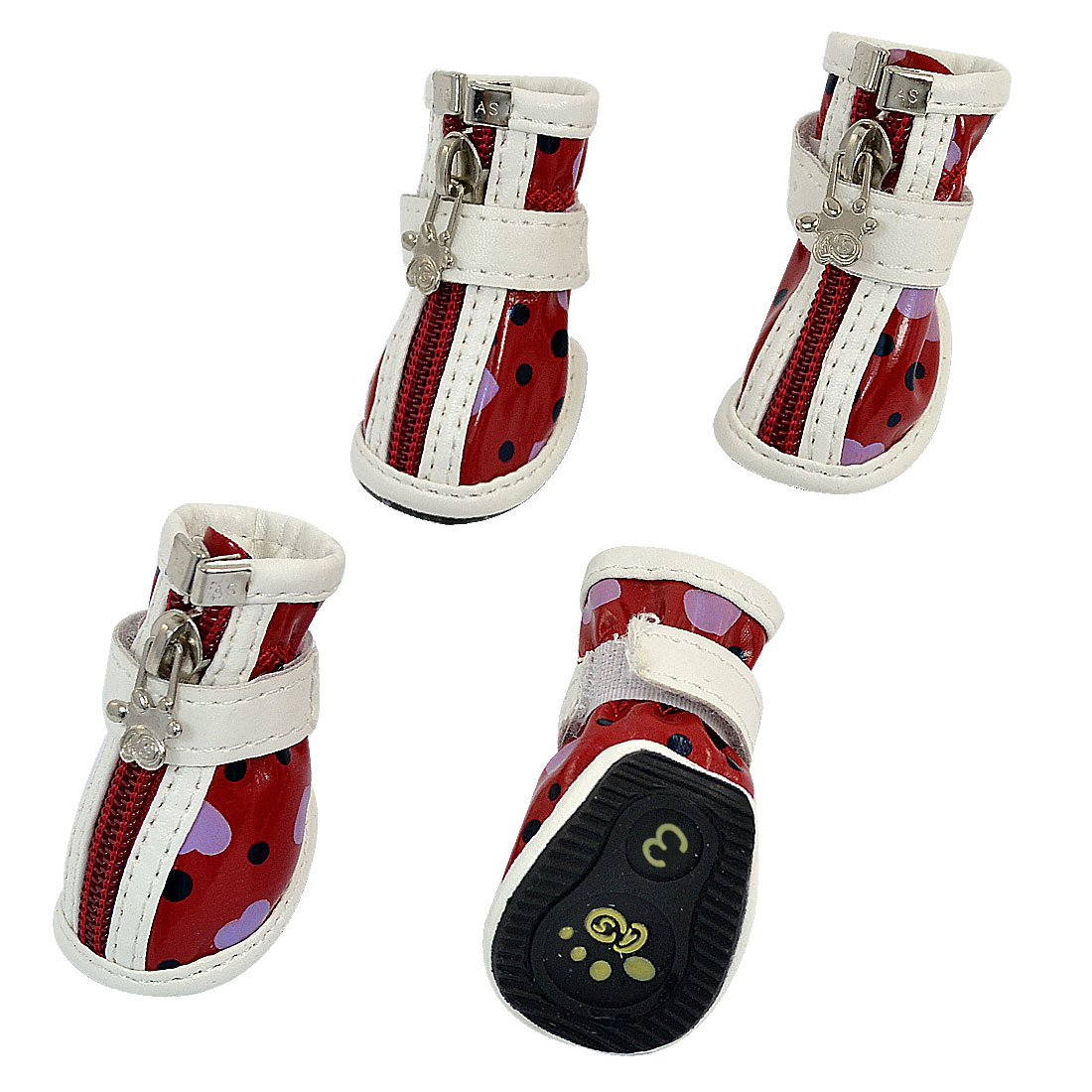2 Pair Hook Loop Closure Zip Up Pet Dog Doggy Shoes Boots Booties Red White Size XS