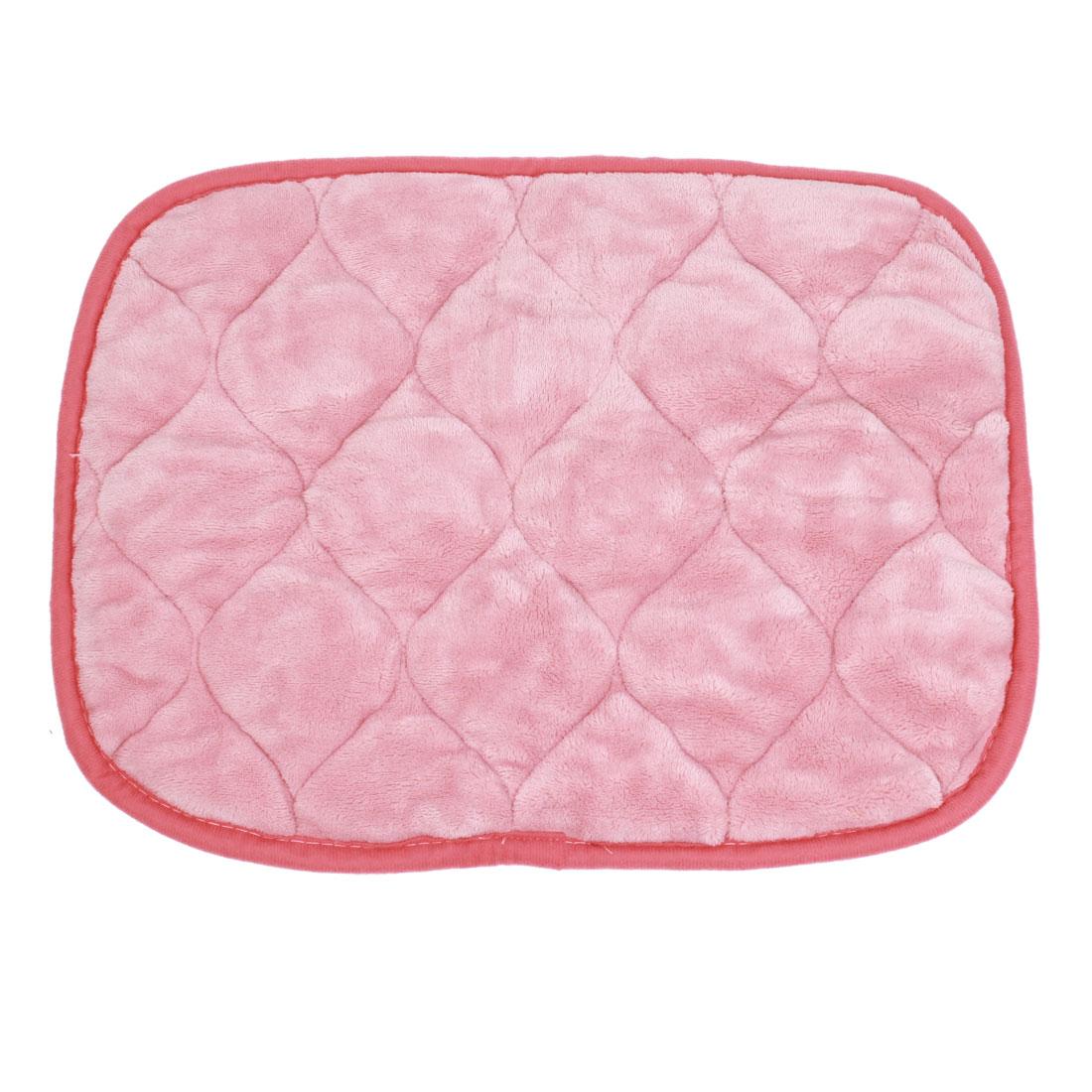 Pink White Coral Fleece Warm Pet Dog Puppy Cushion Pad Mat 45cm x 35cm