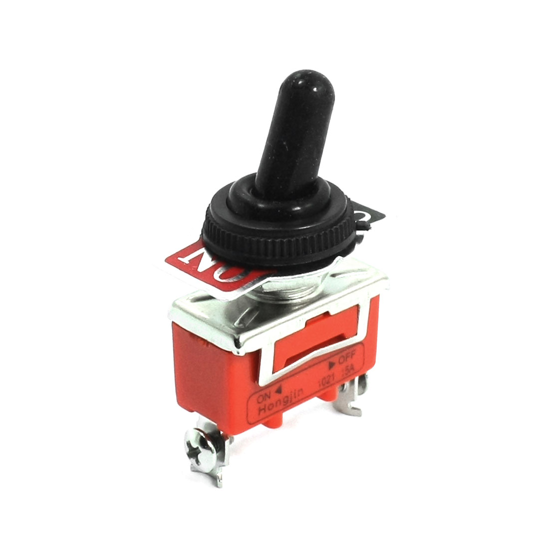 AC 250V 15A 12mm Dia Thread SPST 2 Screw Terminals 2-Position Waterproof Cover Toggle Switch