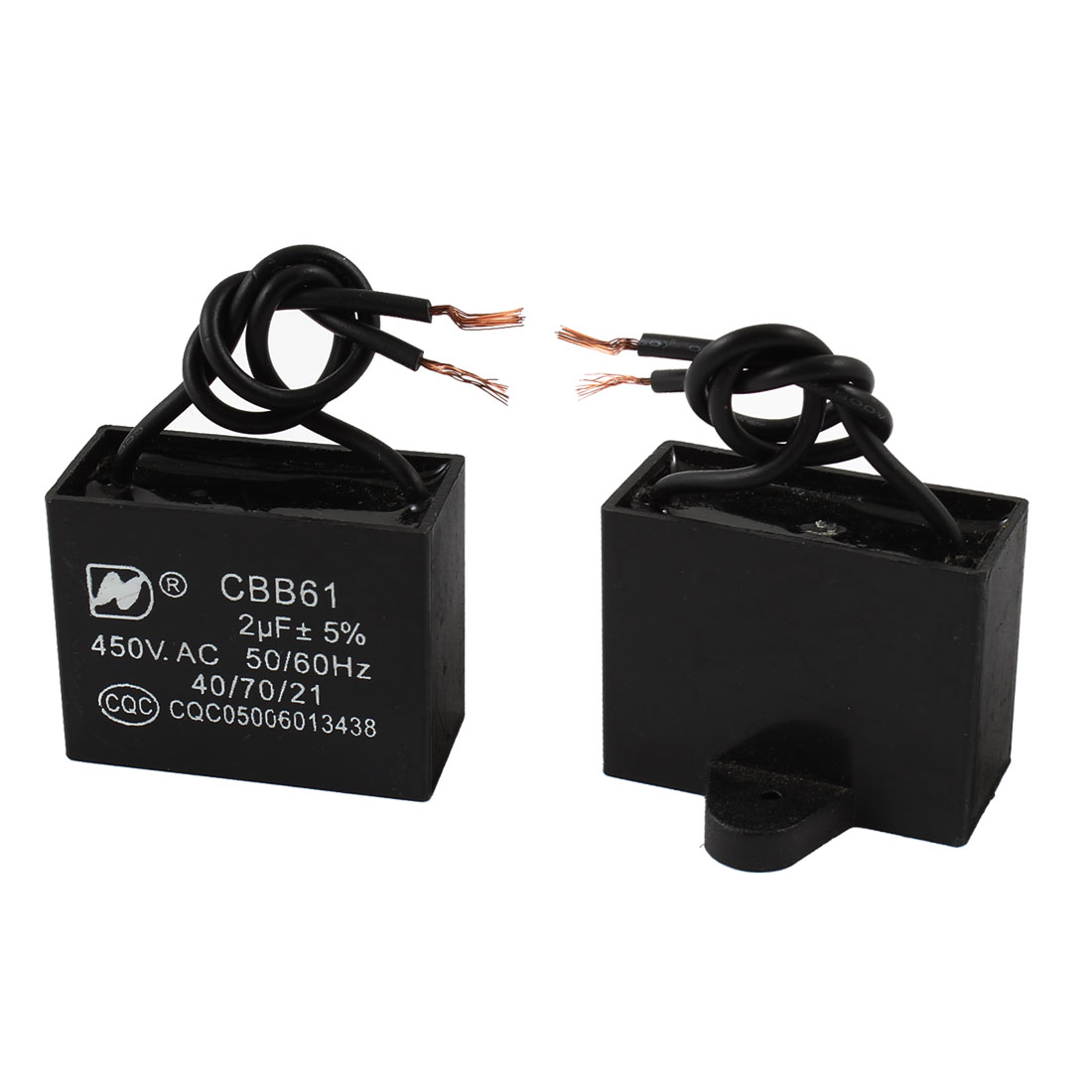 2 Pcs CBB61 AC 450V 2uF 50/60 Hz Wired Rectangle Motor Run Capacitor Black