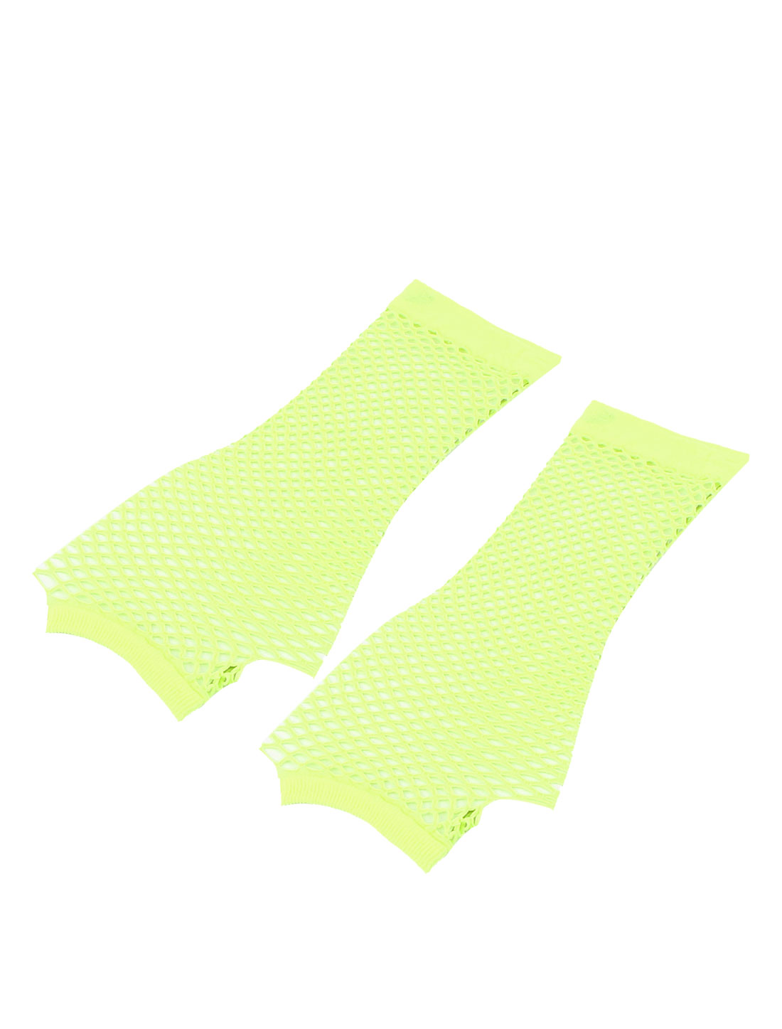 Lady Woman Yellow Elastic Mesh Net Fingerless Thumbhole Gloves Pair