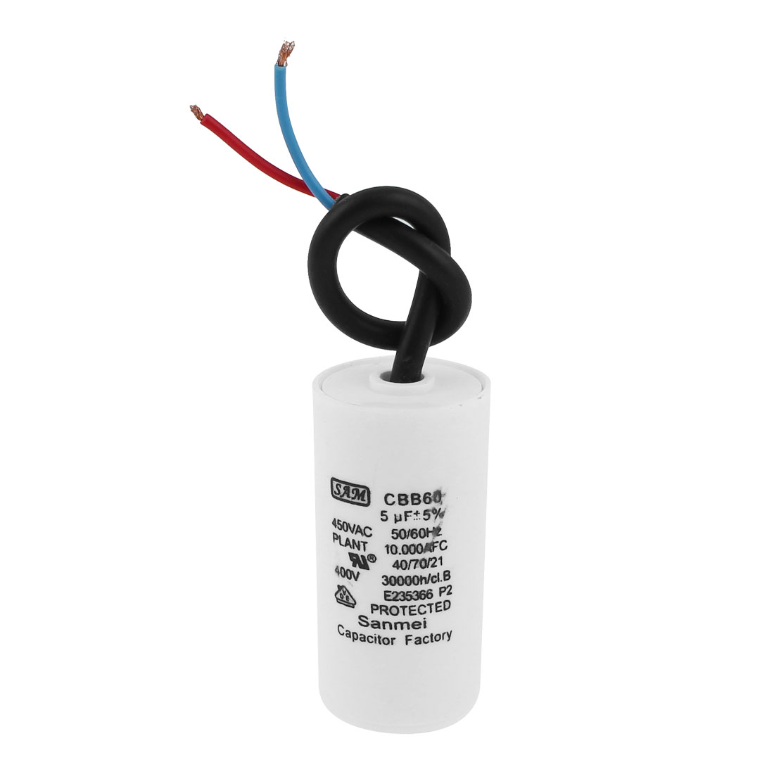 Washing Machine CBB60 AC450V 5uF 5% Wired Motor Run Capacitor