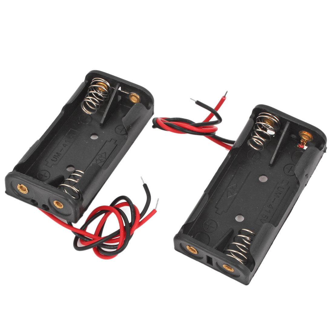 2pcs 15cm Black Red 2 Wires Cable Connectors 2 x AAA Battery Box Case Holder