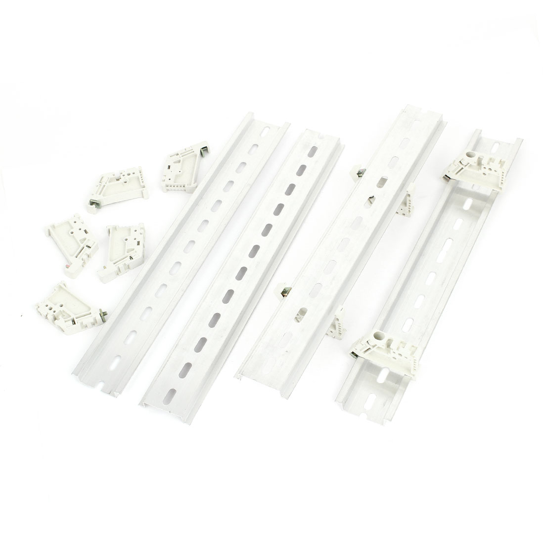 "4 Sets 10"" 250mm Long Slotted Aluminum DIN Rail + Plastic End Stoppers"