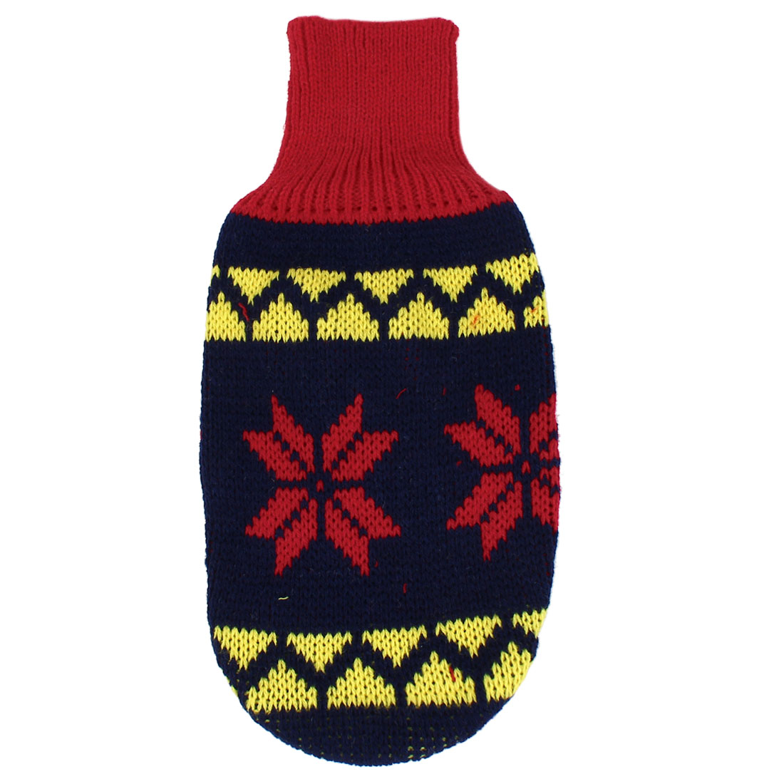 Pet Dog Puppy Ribbed Cuff Knitwear Turtleneck Apparel Sweater Dark Blue Red Yellow Size XXS