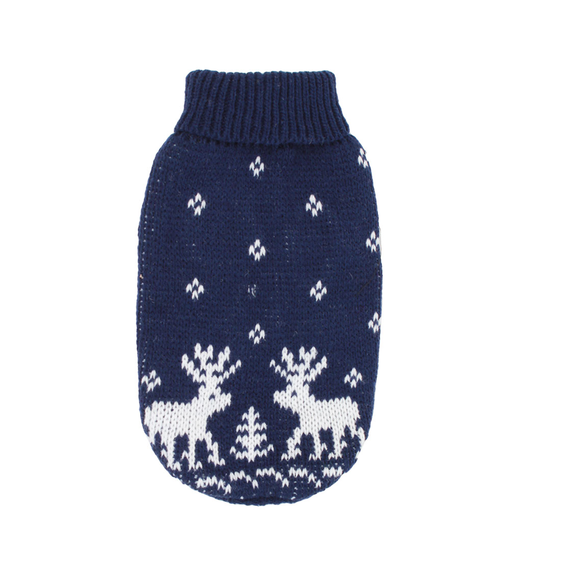 Pet Dog Puppy Ribbed Cuff Knitwear Turtleneck Apparel Sweater Dark Blue White Size XS