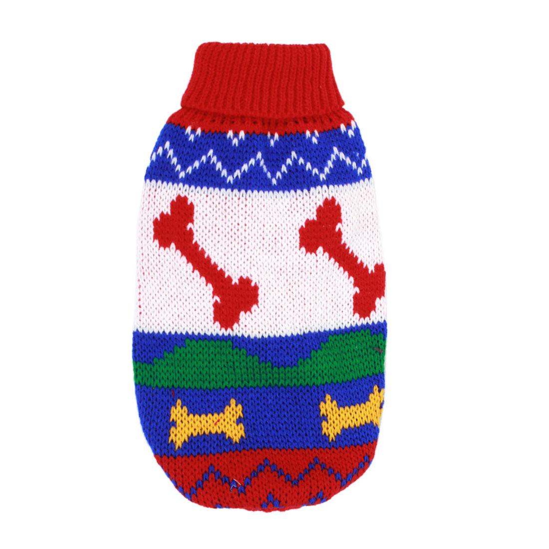 Pet Dog Puppy Bone Pattern Ribbed Cuff Knitwear Turtleneck Apparel Coat Sweater Assorted Color Size XXS