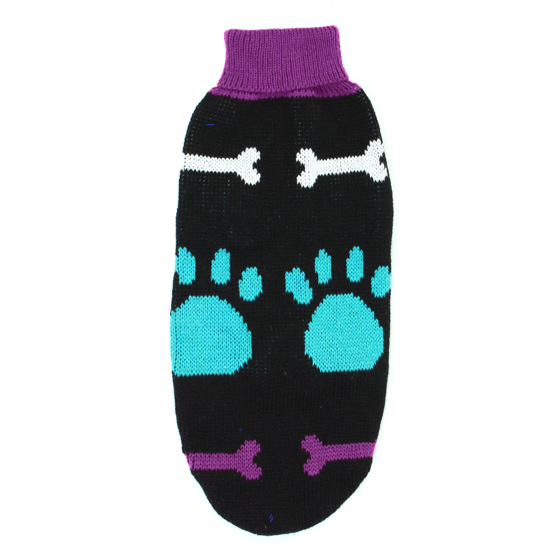 Blue Fuchsia Black Bone Pattern Pet Dog Sleeves Sweater Apparel Size L