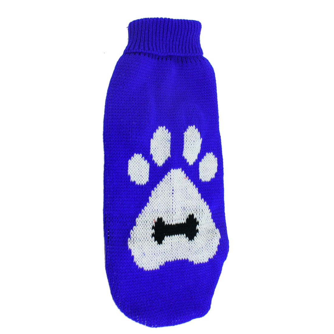 Winter Warm Blue White Knitted Pawprint Pattern Turtleneck Pet Yorkie Sweater L
