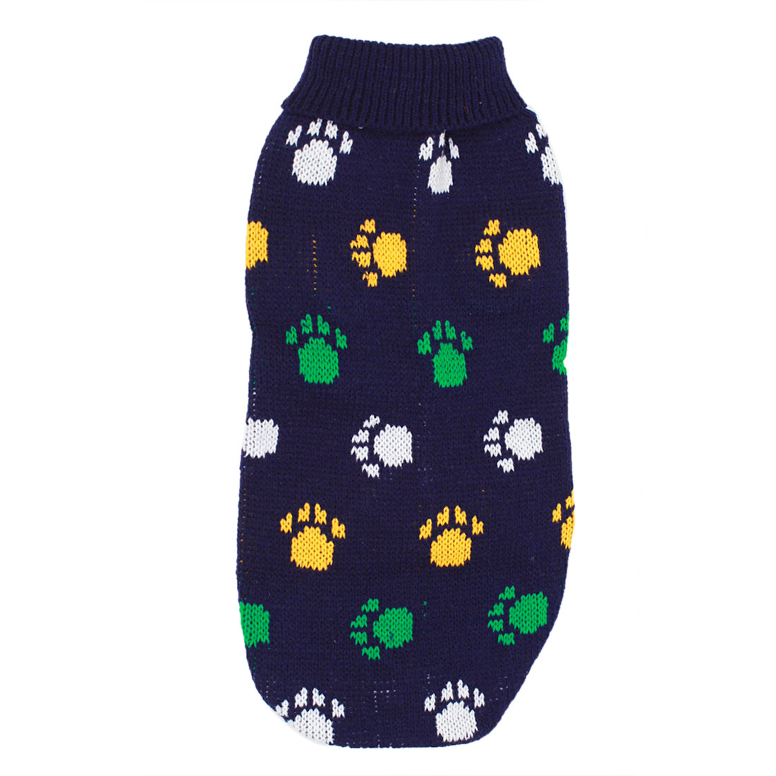 Pet Dog Puppy Claw Pattern Ribbed Cuff Knitwear Turtleneck Apparel Coat Sweater Dark Blue Size M