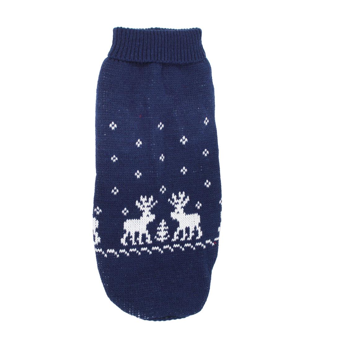 Pet Dog Puppy Ribbed Cuff Knitwear Turtleneck Apparel Sweater Dark Blue White Size M