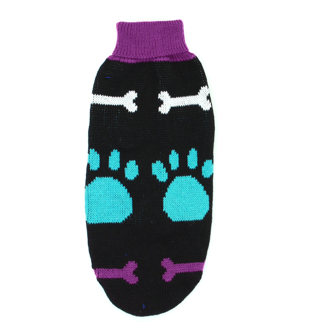 Blue Black Fuchsia Pawprint Print Pet Doggy Turtleneck Sweater Apparel Size M