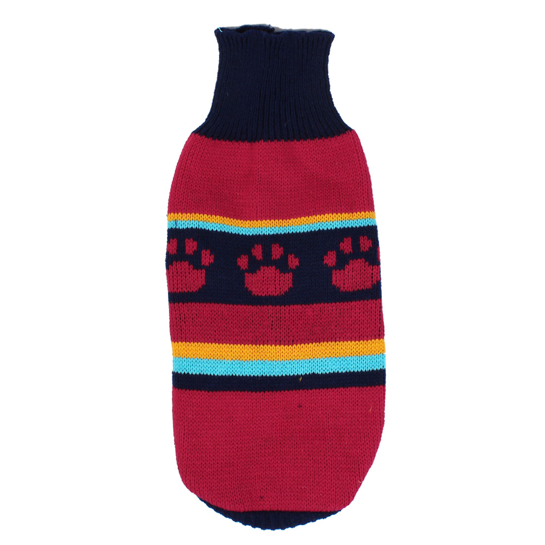 Pet Dog Puppy Claw Print Ribbed Cuff Knitwear Turtleneck Apparel Sweater Dark Blue Red Size S