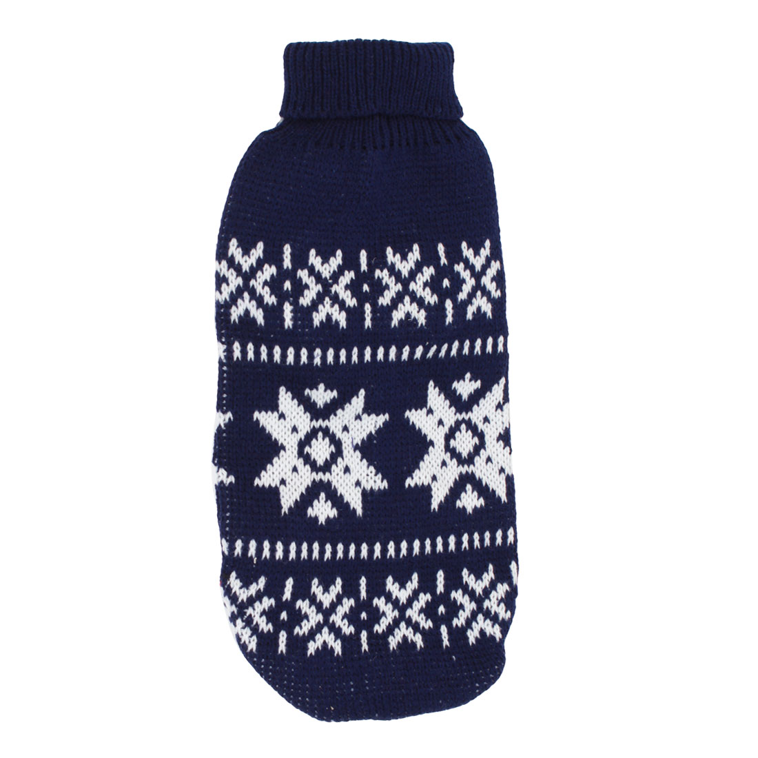 Pet Dog Puppy Ribbed Cuff Knitwear Turtleneck Apparel Sweater Dark Blue White Size S