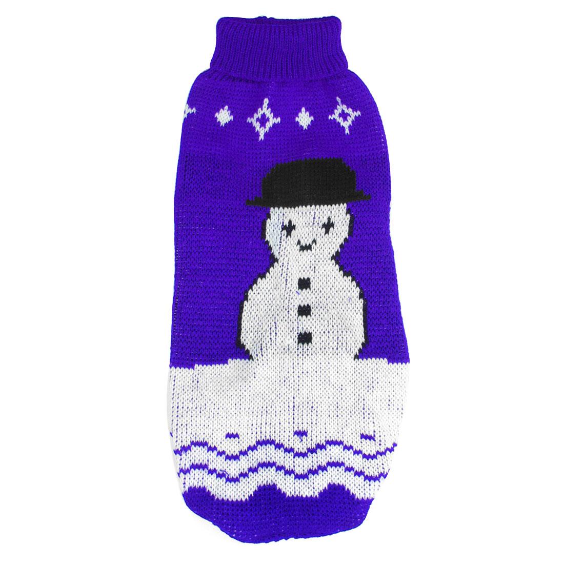 Blue White Black Snowman Print Pet Dog Turtleneck Sweater Apparel Size S