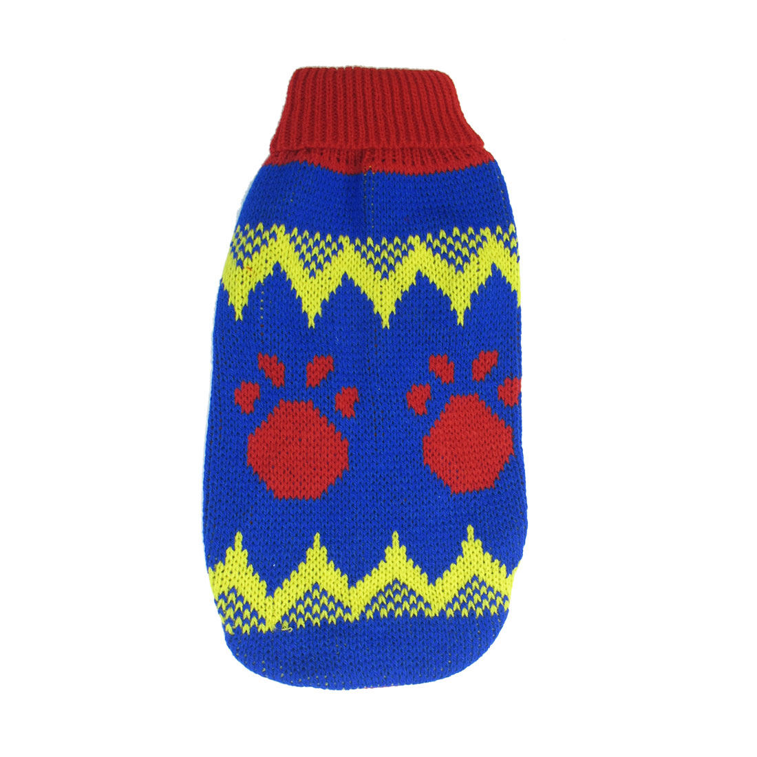 Blue Red Yellow Knitting Pawprint Print Pet Yorkie Sleeves Clothes Sweater Size M