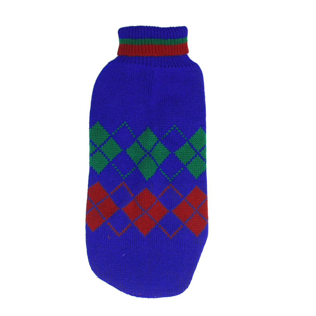 Blue Red Green Knitting Rhombus Print Turtleneck Pet Doggy Apparel Sweater M
