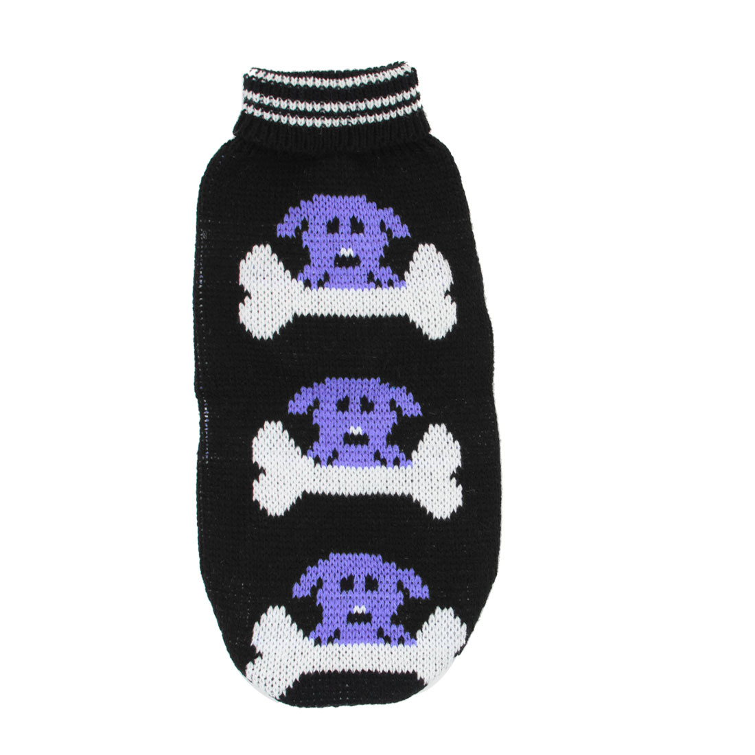 Pet Dog Puppy Ribbed Cuff Knitwear Turtleneck Apparel Sweater Black White Blue Size S