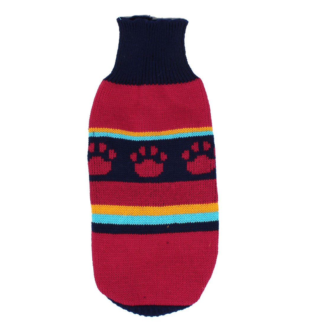 Pet Dog Puppy Claw Print Ribbed Cuff Knitwear Turtleneck Apparel Sweater Dark Blue Red Size M