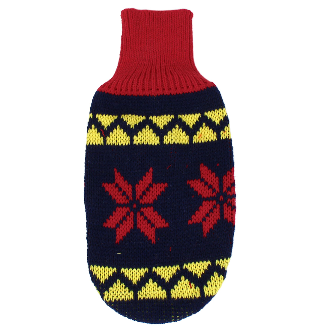 Pet Dog Puppy Ribbed Cuff Knitwear Turtleneck Apparel Sweater Dark Blue Red Yellow Size S