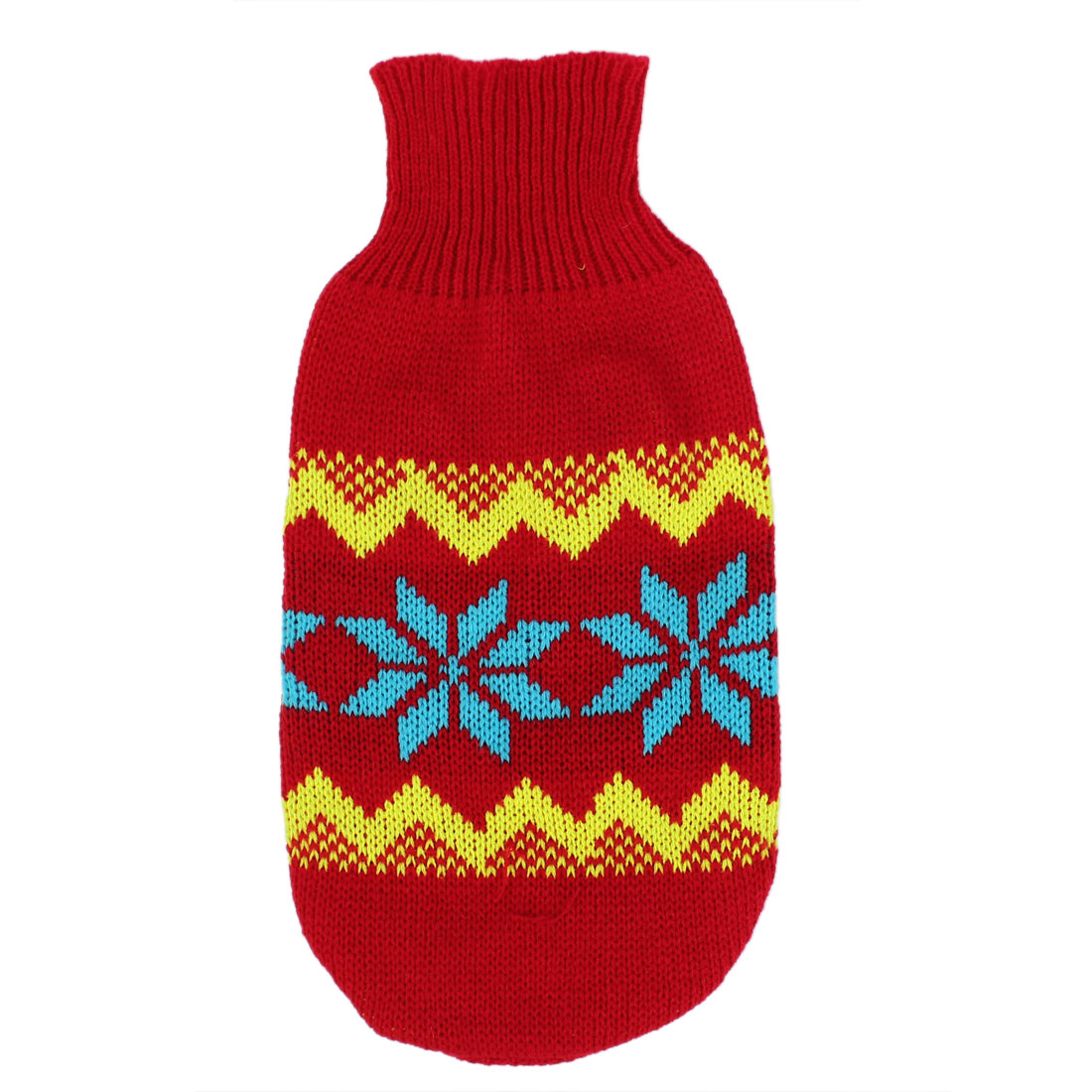 Pet Dog Puppy Ribbed Cuff Knitwear Turtleneck Apparel Sweater Blue Red Yellow Size M