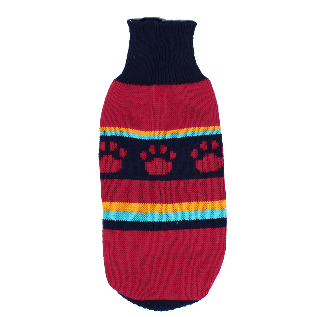 Pet Dog Puppy Claw Print Ribbed Cuff Knitwear Turtleneck Apparel Sweater Dark Blue Red Size XXS