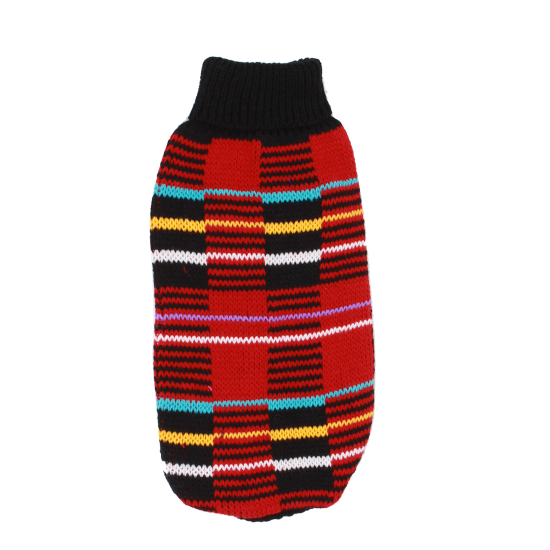 Pet Dog Yorkie Ribbed Cuff Knitwear Turtleneck Apparel Coat Sweater Red Black Size XS