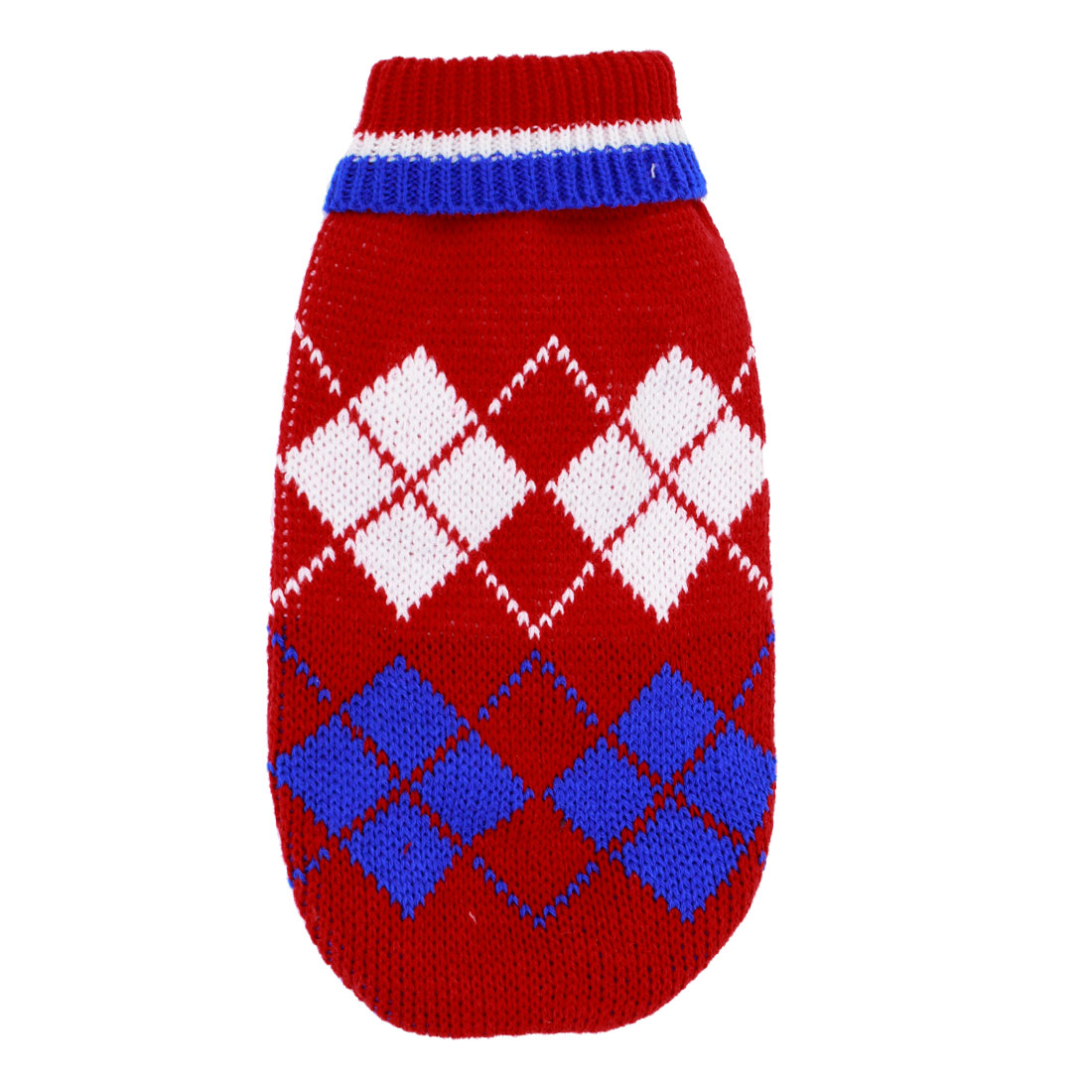 Pet Dog Puppy Ribbed Cuff Knitwear Turtleneck Apparel Coat Sweater Red White Blue Size XS