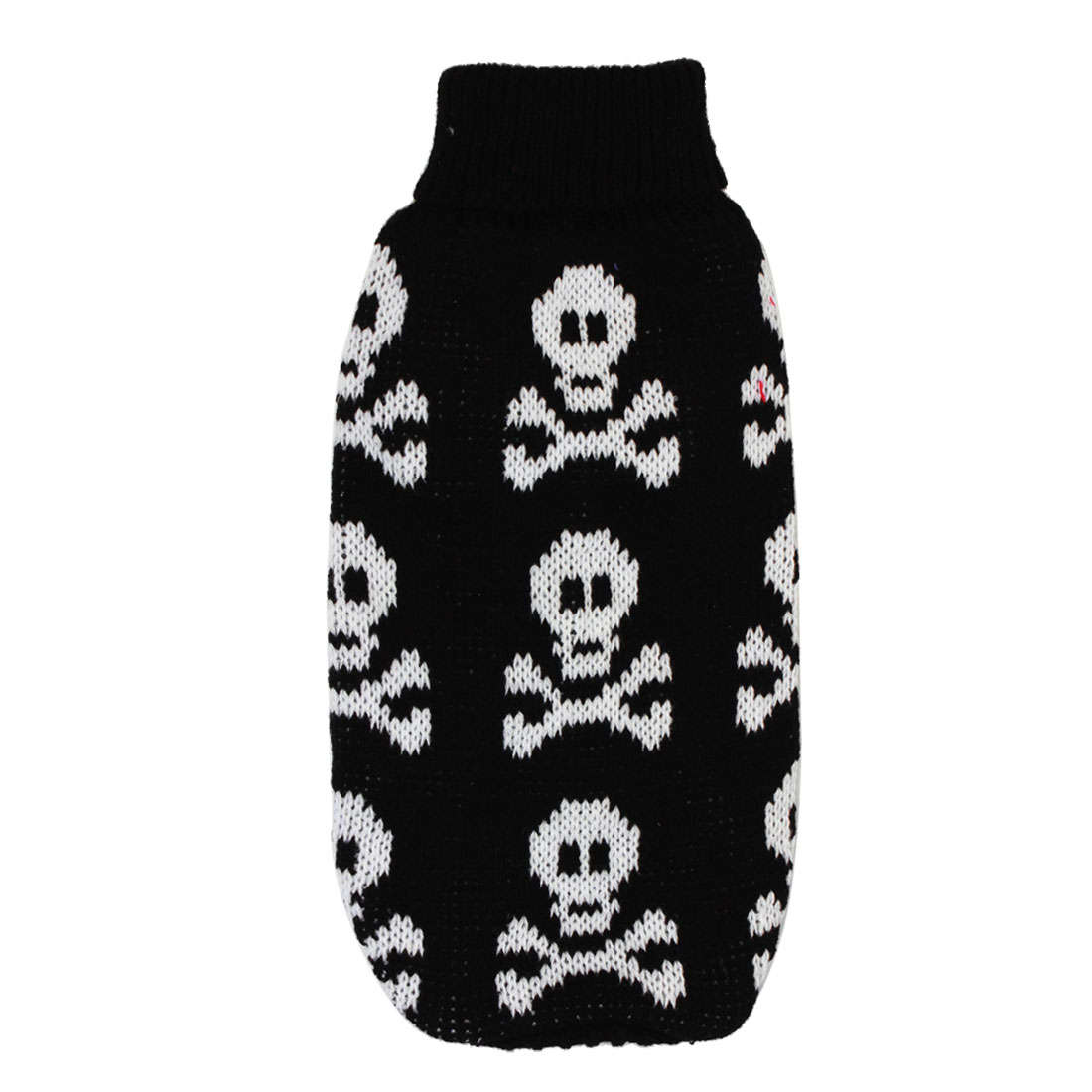 Pet Dog Chihuahua Ribbed Cuff Knitwear Turtleneck Apparel Coat Sweater Black White Size XS