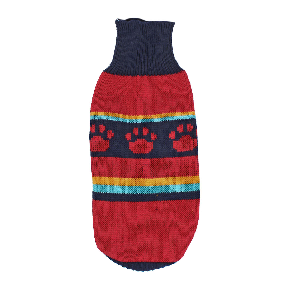 Pet Dog Puppy Claw Print Ribbed Cuff Knitwear Turtleneck Apparel Sweater Dark Blue Red Size XS